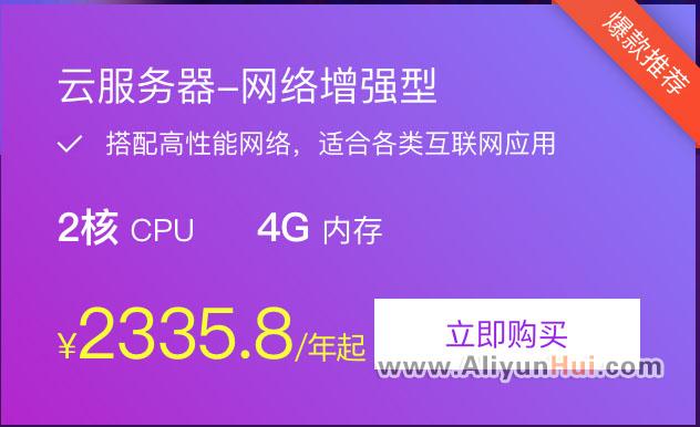 阿里云网络增强型云服务器2核4G优惠价2335.8/年