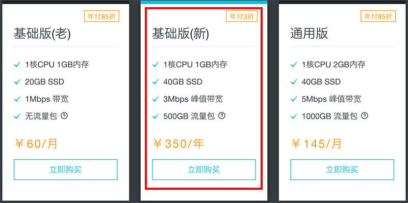 阿里云轻量应用服务器优惠3折350元一年