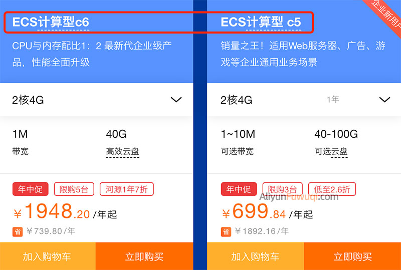 阿里云服务器ECS计算型c6和计算型c5区别对比选择方法