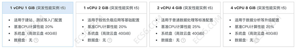 阿里云服务器一键购买仅支持突发性能实例t5更多配置选择自定义购买